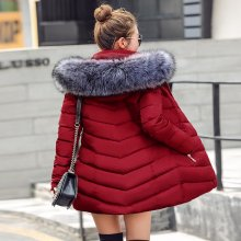 womens winter jackets and coats 2019 Parkas for women 4 Colors Wadded Jackets warm Outwear With a Hood Large Faux Fur Collar