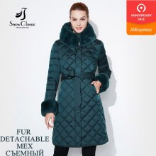 Snow Classic Women Jacket Coat Fur Winter Long Parka Woman Quilted Coat Female Warm Outwear Plus Size 2019 Down Overcoat Fashion