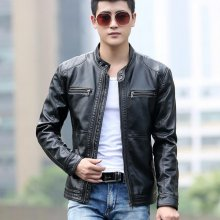 5XL Mens Leather Jacket Men Stand Collar Coats Male Motorcycle Leather Jackets Casual Slim New Brand Clothing Stand Collar COAT