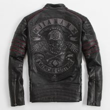 2019 Men Black Skull Embroidery Leather Motorcycle Jacket  Real Thick Cowhide Slim Fit XXXXL Russian Leather Coat FREE SHIPPING