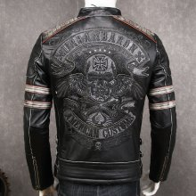 HARLEY DAMSON Vintage Black Men Biker's Leather Jacket XXXXL Embroidery Skull Pattern Genuine Cowhide Slim Fit Motorcycle Coat
