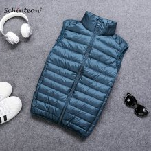 2018 Schinteon 90% White Duck Down Men Vest Gielt Casual Waistcoat Spring Autumn Light Down Jacket Male