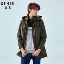 SEMIR Men Long Hooded Jacket For Spring autumn Pocket Zip Snap Closure Style Men Outdoor Jacket High quality Jackets Man