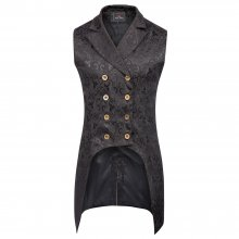 vintage style Men coats medieval Steampunk Gothic Sleeveless Lapel Collar Double-Breasted formal prom party Jacquard Coat