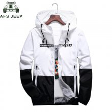 DropShipping Wholesale Spring Autumn Bomber Hooded Jacket Men Casual Slim Patchwork Zipper Thin Windbreaker Jacket Male Outwear