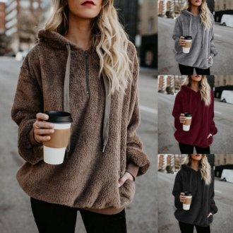 2018 Autumn Winter Warm Hoodies Sweatshirt Women Hoodies Casual Velvet Pocket Long Sleeve Pullover Hooded Top Plus Size Coats