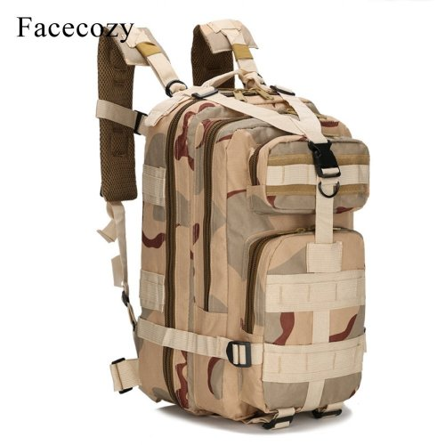 Facecozy Outdoor Hiking Military Tactical Backpack Camouflage 600D Nylon Trekking Travel Kit Bag 25-30L Small Sports Rucksack