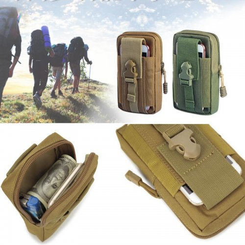 Queshark Mini Outdoor Camping Bags Hot Waterproof  800D Nylon Military Tactical Molle Pouch Waist Bag For 5.5 inch Mobile Phone