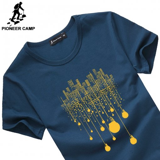 Pioneer Camp summer short t shirt men brand clothing high quality pure cotton male t-shirt print tshirt men tee shirts 522056