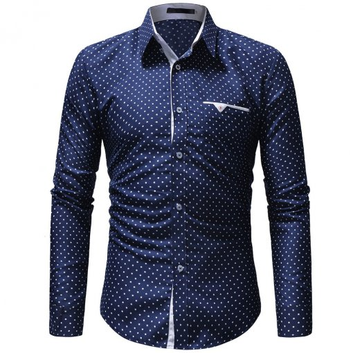 JAYCOSIN men's autumn casual one-piece dress polka dot slim long-sleeved dress shirt men's blue and white printed shirt