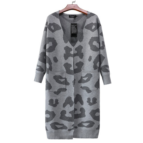 Ladies' fall/winter new knit sweater Leopard print loose long coat sweater