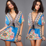Ladies' V-neck silk dress