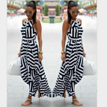 Ladies' Black and White Geometric Printed Loose Dresses