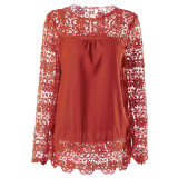 Ladies' long-sleeved hollow Flower Lace Chiffon shirt