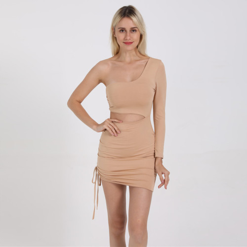 Ladies' One-shoulder hollow strap long sleeve package hip dress