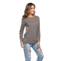 Ladies' Pure colour long sleeve T-shirt