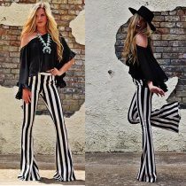 Ladies' Large striped bellbottoms