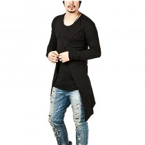 Men's Cross Layered Swallow Tail Long Sleeve T-shirt