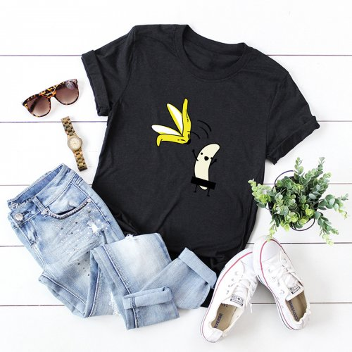 Ladies' Funny Banana Stripped Cotton Short-sleeved Women's T-shirt