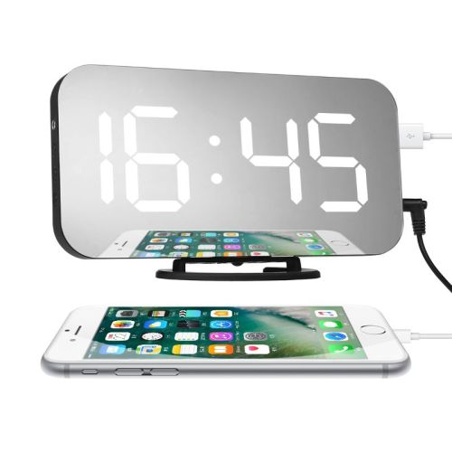 Creative mobile phone charging lens electronic alarm clock