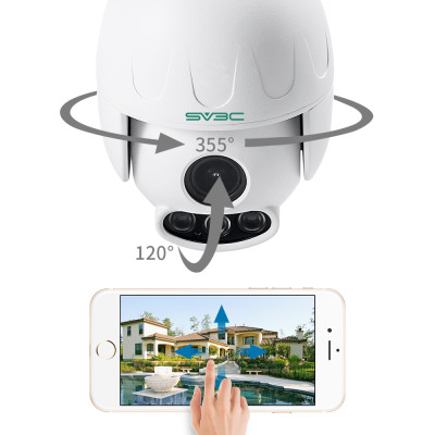 SV3C 1080P Outdoor PTZ WiFi Security Camera,Pan Tilt Zoom (5X Optical Zoom) Wireless Surveillance CCTV IP Camera with Two Way Audio,IP66 Waterproof,165ft Night Vision,Support Max 128GB SD Card