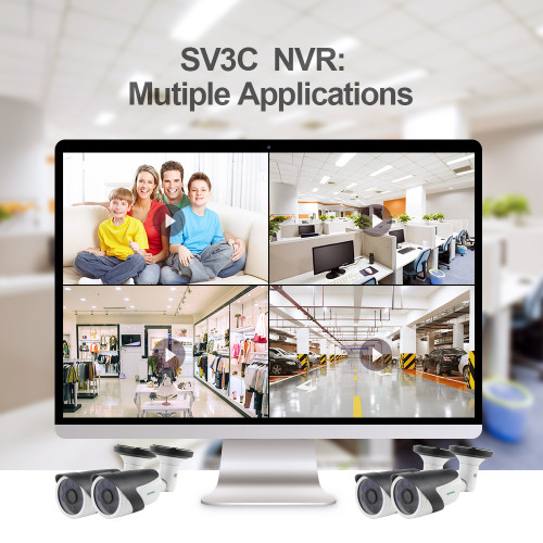 SV3C PoE Security Camera System, Expandable 16 Channel 5MP NVR with 4 POE Ports, 4pcs 5MP Outdoor PoE IP Cameras, H.265, Onvif, Support Max 8TB HDD (HDD Not Included)