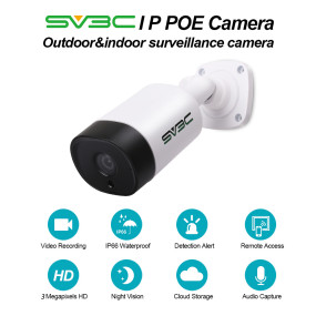 POE Camera, SV3C 3 Megapixels HD POE Security Camera Outdoor/Indoor, Video Surveillance Camera, Home Security Camera Audio IR Night Vision Motion Detection ONVIF IP66 Waterproof IP Security Camera