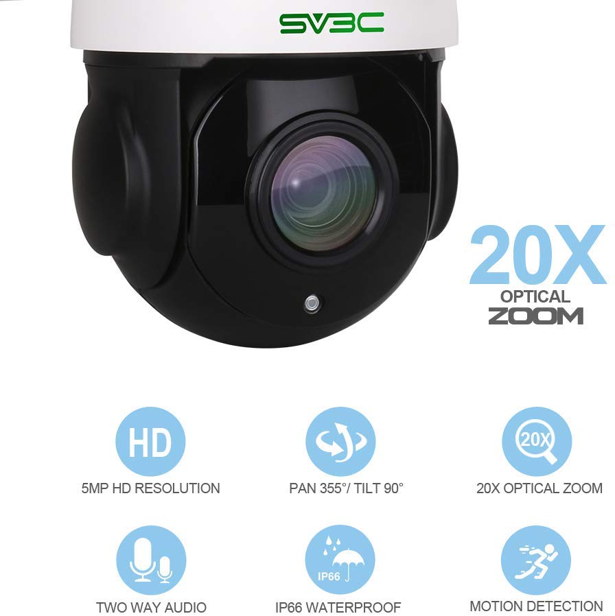 5MP PTZ WiFi Security Camera Outdoor, SV3C Pan Tilt with 20X Optical Zoom Wireless Surveillance CCTV IP Camera, HD 5 Megapixels 196ft Night Vision Camera, IP66 Waterproof Camera with Audio
