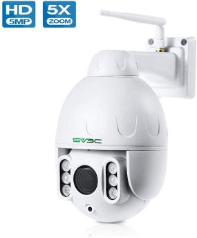5MP PTZ WiFi Camera, SV3C HD Outdoor Wireless Camera, Pan Tilt 5X Optical Zoom, Two Way Audio, 196ft Night Vision, Waterproof Dome Surveillance Camera, Motion Detection, Support Max 128GB SD Card