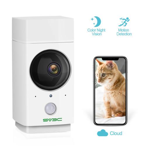 Indoor WiFi Camera 1080P SV3C Pet Camera Wireless Nanny Cam Baby Monitor 360-Degree Panoramic Navigation,Sensor Light,Motion Tracking,IR Night Vision,Two-Way Talk,Local/Cloud Storage,Work with Alexa