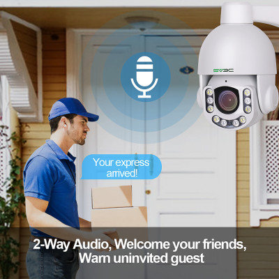 Outdoor 5MP WiFi Wireless PTZ Cameras, SV3C 10 LED Super HD Pan Tilt 5X Zoom Security IP Camera, 2-Way Audio Motion Detection Dome Cameras, Weatherproof Surveillance Camera, Support Max 128GB SD Card