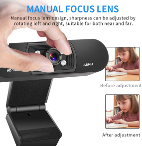 PC Webcam, HD 1080P USB Webcam, SV3C Laptop Webcam Live Streaming with Dual Microphone, Manual Focus Web Camera Extended View for Working Calling Recording Conferencing