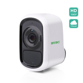HD 1080P WiFi Rechargeable Battery Powered Camera, SV3C Smart PIR Human Motion Detect Outdoor Wireless Camera, Night Vision IP Camera, Two-Way Audio, Waterproof, Free 1 Year Cloud/SD Card Storage