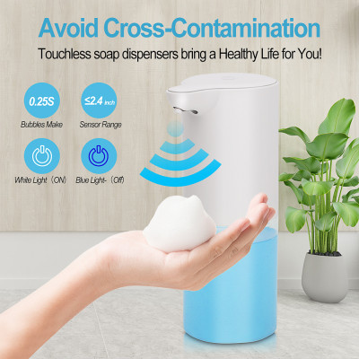 Automatic Touchless Foam Dispenser, Foaming Hand Soap Dispenser, Battery Powered Soap Dispenser Countertop with Smart Infrared Sensor for Bathroom Kitchen Toilet Office Hotel, 11.05oz/340ml