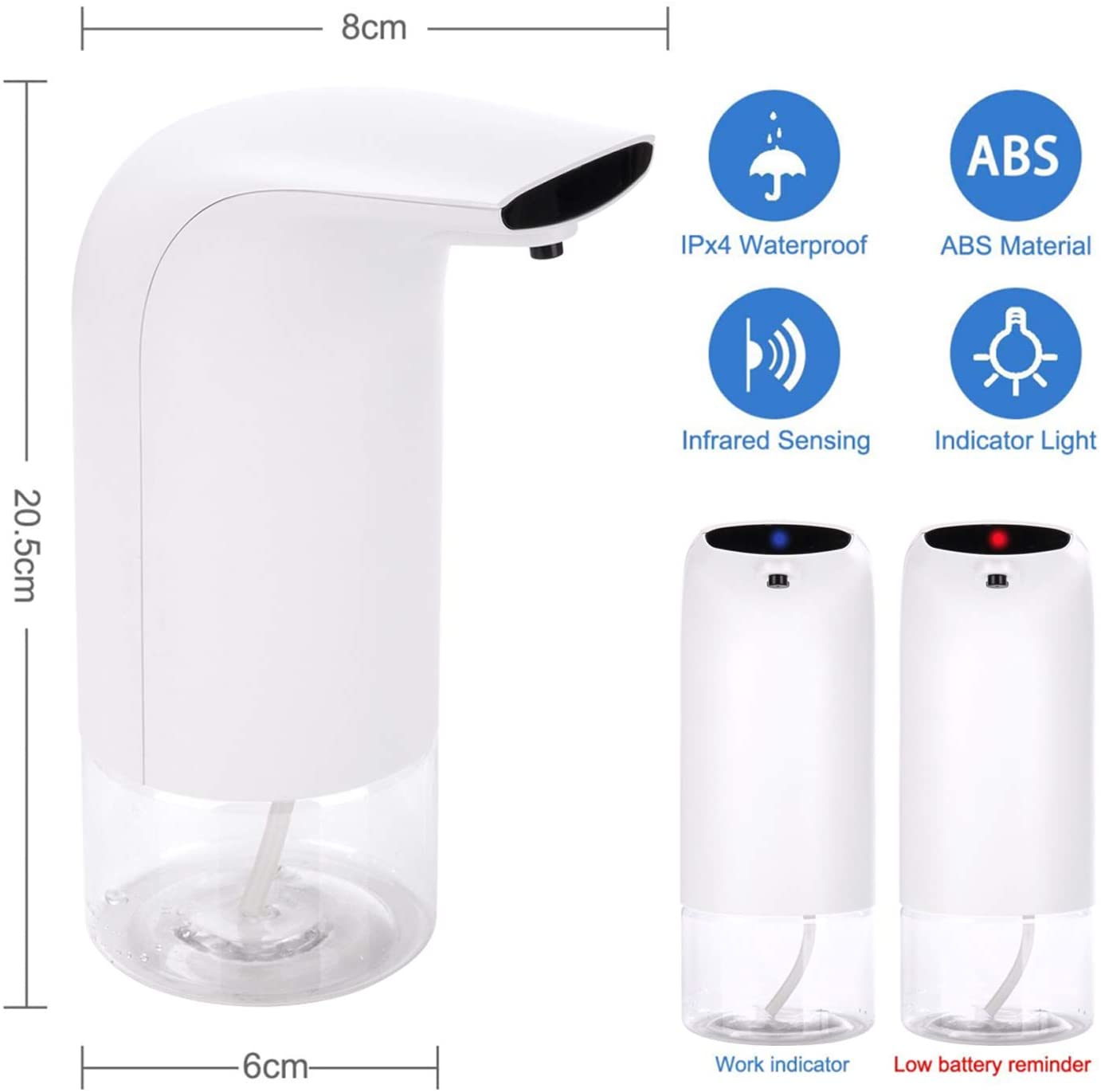 Automatic Touchless Foam Dispenser, Foaming Hand Soap Dispenser, Battery Powered Soap Dispenser Countertop with Smart Infrared Sensor for Bathroom Kitchen Toilet Office Hotel, 10.1oz / 300ml