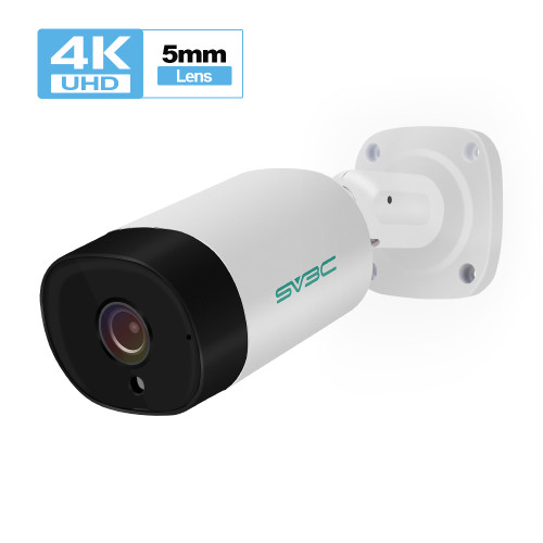SV3C Outdoor IP Camera POE Onvif H.265, SV3C UltraHD 4K (8MP) POE Camera with Audio Recording, 3840x2160, 5mm Lens, Heavy Duty Housing IP67 Waterproof, White(Series A)