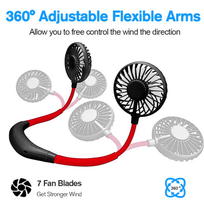 Personal Fan, Hand Free Portable Sport Fan Battery Rechargeable Fan with 3 Level Speed, Cooler Fan with 360° Free Rotation Head for Sport Office Home Travel