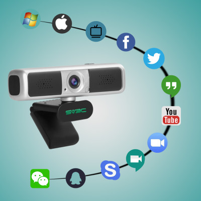 SV3C 2K 4MP HD Video Webcam with Microphone, 4MP USB Plug & Play Stream Web cam with 360° Vision Privacy Cover PC Computer Camera for Laptop