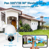 Security Camera Outdoor, 1080P PTZ Camera with Pan/Tilt 360° View Night Vision, WiFi Home Surveillance IP Camera, 2-Way Audio Motion Detection Activity Alert Support Max 128G TF Card