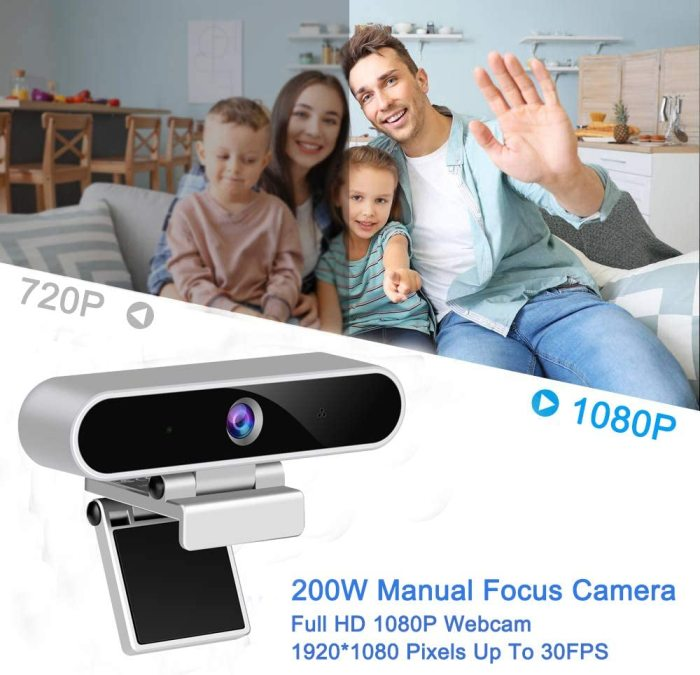 HD 1080P Webcam with Microphone, Computer USB Webcam for Desktop/Laptop External PC Camera, Streaming Webcam for Gaming, Remote Study and Work, Video Calling, Recording, Conferencing