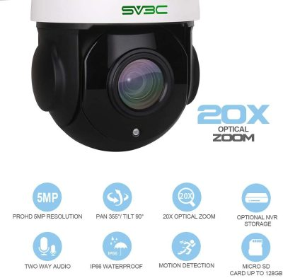 Outdoor 5MP PTZ IP POE Security Camera, SV3C Pan 360° Tilt 20X Optical Zoom Home Surveillance Camera, 200FT IR HD Night Vision Waterproof Motion Detect Remote Access Onvif RTSP, 128GB SD Card Slot