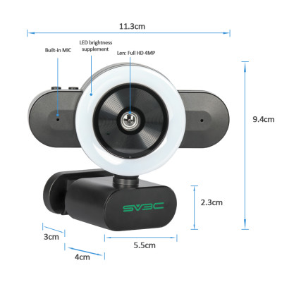 SV3C Streaming Webcam, 2K Video Camera for Computer with Adjustable Brightness Ring Light Built-in 360°MIC USB Plug and Play Desktop Laptop PC Camera Webcam with Microphone for Xbox Skype Zoom OBS