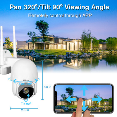 CCTV Camera FUSWLAN 1080P WiFi Security Camera Outdoor, Wireless IP Home Security Camera with Pan Tilt, Two Way Audio Night Vision and Smart Motion Tracking, Compatible with IOS/Android/TUYA Smart APP