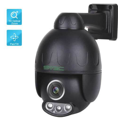 SV3C 1080P Black PTZ POE Camera Outdoor 5X Optical Zoom Pan Tilt Speed & 2.7-13.5MM Varifocal Lens Surveillance IP Security Two-Way Audio, 190FT Night Vision-Sony Sensor, ONVIF H.265, Support Max 128GB SD Card