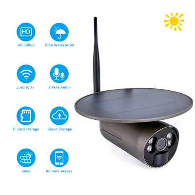 【Solar Power】 SV3C 1080P Battery Camera, PIR Motion Actived, PC&Mobile Viewing, Bullet Surveillance WiFi Camera, IP66 Waterproof, Color Night Vision