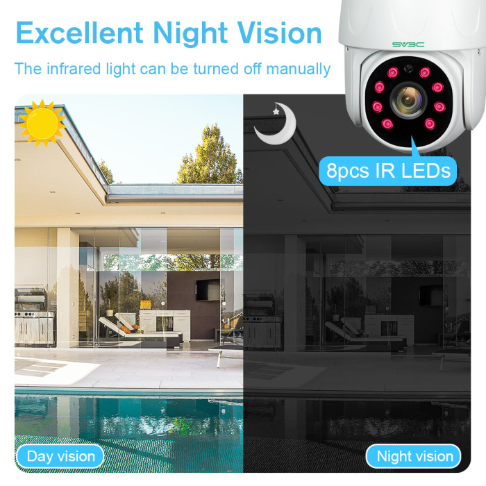 CCTV Camera SV3C 1080P WiFi Security Camera Outdoor, Wireless IP Home Security Camera with Pan Tilt, Two Way Audio Night Vision and Smart Motion Tracking, Compatible with IOS/Android/TUYA Smart APP (TUYA Series)