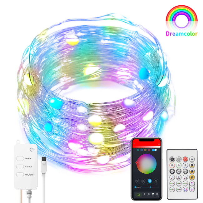 LED Fairy String Lights, WiFi Wireless Smart Light Strip Compatible with Alexa Tuya Smartlife APP, USB Powered RGB+Warm White 16 Color Changing Twinkle Light, Bluetooth RC Copper Light for Xmas Decor