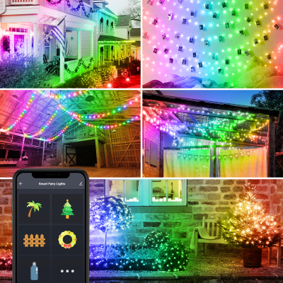 Smart WiFi Globe Fairy Lights Plug in, 32.8ft Waterproof Bendable LED Strip Lights for Bedroom Home Wedding Party Room Decor, Music Sync APP Control Compatible with Alexa Google Home