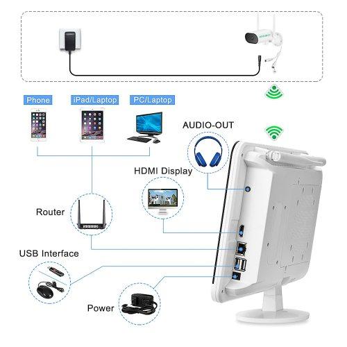 SV3C Video Surveillance Kit 3MP Audio Record CCTV System Wireless Surveillance Camera System 13-inch Monitor NVR Waterproof