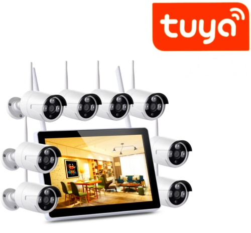 SV3C TuyaSmart support 1080P Wireless Security Camera System Outdoor Indoor Plug&Play 8-Channel NVR 4Pcs 2MP WiFi Video Surveillance Cameras with H.265 Night Vision, Motion Detection, P2P, 24/7 Recording, No Hard Drive